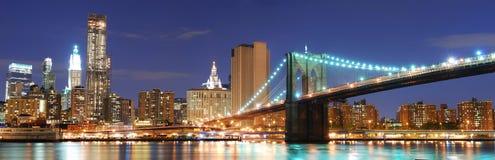 De horizonpanorama van Manhattan van de Stad van New York Stock Foto's