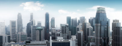 De horizonpanorama van Singapore Hoge wolkenkrabbers Royalty-vrije Stock Foto