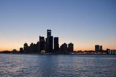 De horizonsilhouet van Detroit Stock Afbeelding