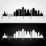 De horizonsilhouet van Detroit stock foto's