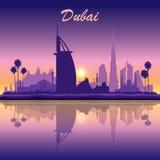 De horizonsilhouet van Doubai op zonsondergangachtergrond Royalty-vrije Stock Foto