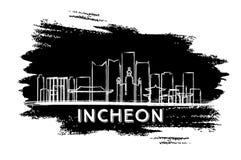 De Horizonsilhouet van IncheonZuid-Korea Hand getrokken schets Royalty-vrije Stock Foto