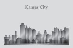 De horizonsilhouet van Kansas City in grayscale Stock Fotografie
