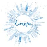 De horizonsilhouet van overzichtseuropa met blauw oriëntatiepunten en exemplaar s Stock Foto's