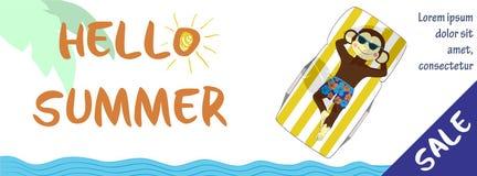 De horizontale banner van de de zomerverkoop met leuke aap Stock Foto's