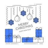 De horizontale banner van het Kerstmisnieuwjaar met giften, het art. van decoratielline royalty-vrije illustratie