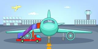 De horizontale banner van het luchthavenvliegveld, beeldverhaalstijl vector illustratie