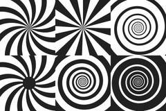 De horizontale bannerreeks van psychedelische spiraal met radiale stralen, draai, verdraaide grappig effect, draaikolkachtergrond vector illustratie