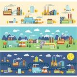 De horizontale banners van de industriegebouwen royalty-vrije illustratie