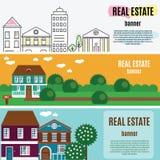 De Horizontale Banners van Real Estate Huis, plattelandshuisje, huis in de stad, huis vectorillustratie Royalty-vrije Stock Foto