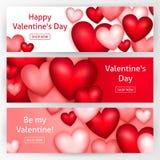 De Horizontale Banners van de valentijnskaartendag Stock Fotografie