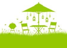 De horizontale Groene Achtergrond van het de Barbecuesilhouet van de de Zomertuin vector illustratie