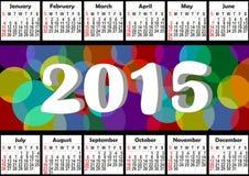 de horizontale jaarlijkse kalender van 2015 met regenboogbellen Stock Fotografie