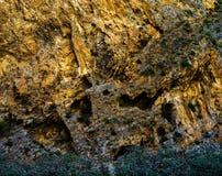 De horizontale levendige oranje textuur van de bergmuur Stock Afbeelding
