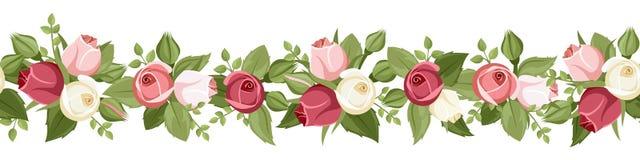 De horizontale naadloze achtergrond met rood, roze en wit nam knoppen toe Vector illustratie Royalty-vrije Stock Afbeeldingen