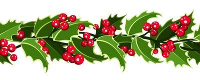 De horizontale naadloze achtergrond van Kerstmis. Stock Afbeeldingen