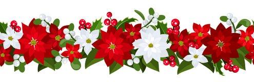 De horizontale naadloze achtergrond van Kerstmis Stock Foto's