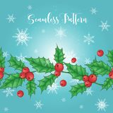 De horizontale naadloze achtergrond van Kerstmis Vector illustratie De Bes van de hulst Hogere resolutie beschikbaar voor individ royalty-vrije stock afbeeldingen