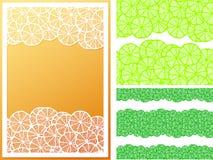 De horizontale naadloze citroen snijdt patroon en kader Royalty-vrije Stock Foto's