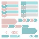 De horizontale pijlen, verticaal, tekst, pictogrammen, kleurden, vlakte Royalty-vrije Stock Foto's