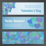 De horizontale vectorbanners van de valentijnskaartendag op roze Royalty-vrije Stock Foto
