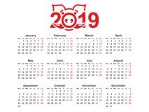 De horizontale vectorontwerpsjabloon van de jaar 2019 kalender, eenvoudig en schoon ontwerp Kalender voor het jaar 2019 met gesti vector illustratie