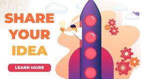 De horizontale Vlakke Geschreven Banner deelt Uw Idee vector illustratie