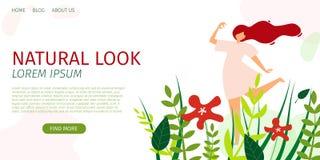 De horizontale Vlakke Natuurlijke Banner kijkt Tendensseizoen stock illustratie