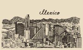 De horizonwijnoogst gegraveerde vectorschets van Mexico stock illustratie