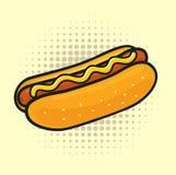 De hotdog van het pop-art Royalty-vrije Stock Fotografie