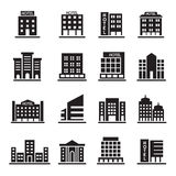 De hotelbouw, Bureautoren, de Bouw pictogrammen geplaatst illustratie Royalty-vrije Stock Foto's