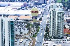 De Hotels en de Casino's het hoogste landschap van de meningsstad van Las Vegas tijdens clou Stock Afbeeldingen