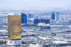 De Hotels en de Casino's het hoogste landschap van de meningsstad van Las Vegas tijdens clou Stock Afbeelding
