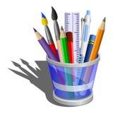 De houder van het potlood met acessories. Royalty-vrije Stock Afbeeldingen