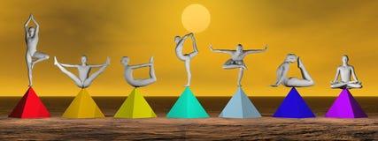 Yoga op 3D chakrapiramides - geef terug Royalty-vrije Stock Afbeelding