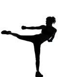 De houdingsbokser van de vrouw het kickboxing in dozen doen stock afbeeldingen