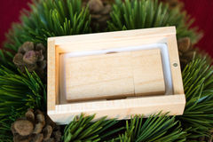 De houten aandrijving van de usbflits in de houten doos op Kerstboom Royalty-vrije Stock Afbeelding