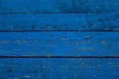 De houten achtergrond schilderde blauw Stock Fotografie