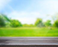 De houten Achtergrond van de Lijstbovenkant en Groene 3d geven terug Royalty-vrije Stock Foto's