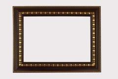 De houten antiquiteit van kader bruine in orde gemaakte die gouden medailles op witte backgr wordt geïsoleerd stock fotografie