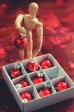 De houten ballen van ledenpop sorterende Kerstmis Royalty-vrije Stock Afbeeldingen