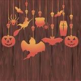 De houten banner van Halloween Stock Afbeelding
