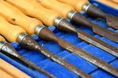 De houten beitels van timmerlieden Stock Afbeelding