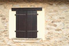 De houten blinden van de vensterwind Stock Foto