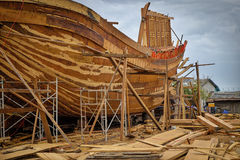 De houten Bootbouw, Qui Nhon, Vietnam Royalty-vrije Stock Foto