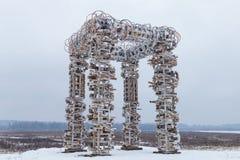 De houten bouw op het gebied Stock Foto's