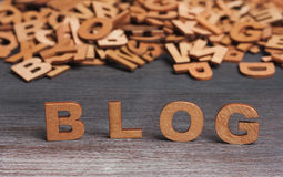 De houten brieven van het blogwoord Stock Fotografie