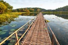 De houten brug in lotusbloemvijver royalty-vrije stock foto