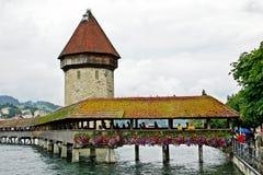 De houten brug in Luzerne Royalty-vrije Stock Afbeeldingen