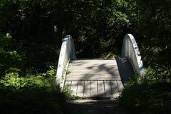 De houten brug in Monrepo-Park in Vyborg Royalty-vrije Stock Foto